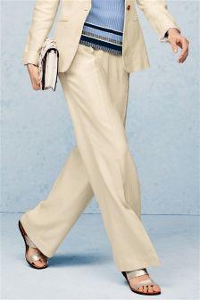 Neutral Linen Blend Herringbone Trousers
