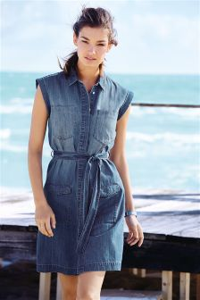Denim Mid Blue Denim Shirt Dress