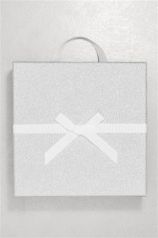 Silver Large Glitter Gift Box