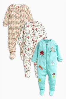 Turquoise Toadstool Sleepsuits Three Pack (0mths-2yrs)