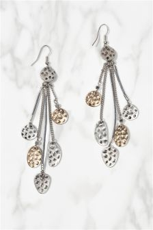 Silver And Gold Tone Disc Earrings