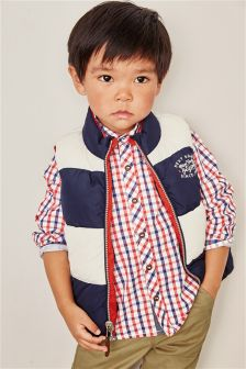 Red/Navy Reversible Gilet (3mths-6yrs)