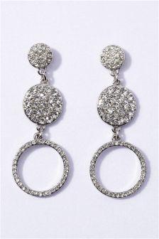 Silver Tone Diamanté Detail Drop Earrings