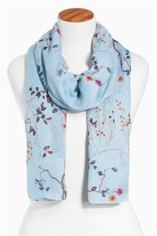 Blue Oriental Floral Peacock Scarf