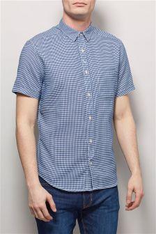 Blue Short Sleeve Textured Shirt