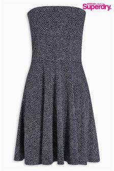 Black Superdry Polka Dot Bandeau Dress