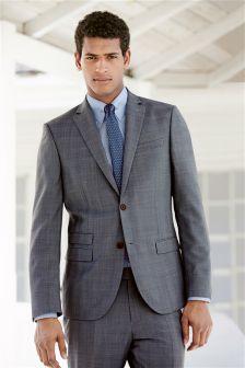 Light Blue Check Slim Fit Suit Trousers