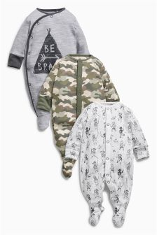 Three Pack Treehouse Camo Print Sleepsuits (0mth-2yrs)
