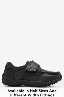 Black Wide Fit Sporty Single Strap Shoes (Older Boys)
