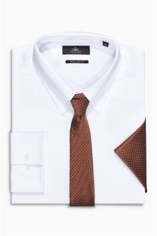 White Shirt, Tie And Pocket Square Set