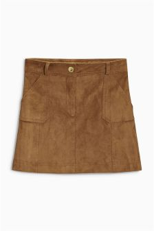 Tan Suede Effect Skirt (3-16yrs)