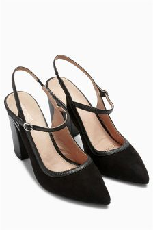 Black Buckle Slingback Point Shoes