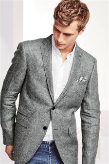 Grey Italian Linen Slim Fit Jacket