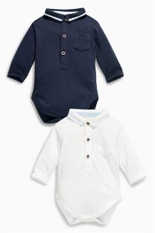 Navy/White Poloshirt Body Two Pack (0mths-2yrs)
