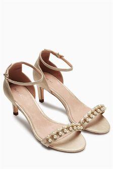 Metallic Pearl Trim Sandals