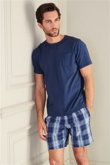 Navy Check Shorts Set
