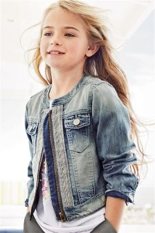 Denim Beaded Collarless Jacket (3-16yrs)