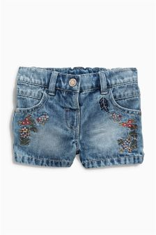 Mid Blue Embroidered Short (3mths-6yrs)