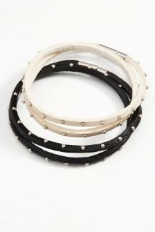 Black & Nude Stud Bracelets Two Pack