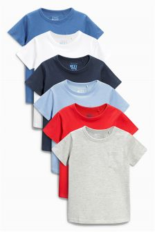 Multi Short Sleeve Essential Tops Six Pack (3mths-6yrs)