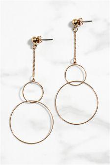 Gold Tone Delicate Circle Drop Earrings