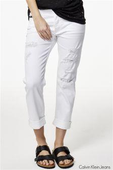 Calvin Klein White Boyfriend Jean
