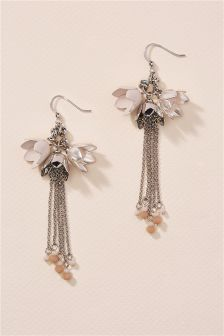 Silver Tone Flower Tassel Earrings