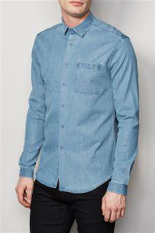 Blue Long Sleeve Denim Look Shirt