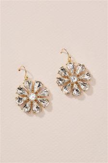 Gold Tone Crystal Effect Flower Earrings
