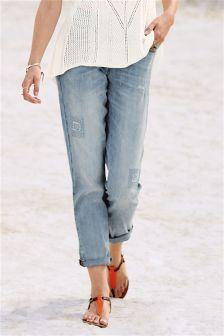 Distressed Cigarette Jeans