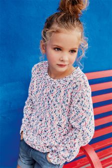 Coral/Blue Fleck Sweater (3-16yrs)