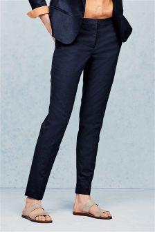 Navy Premium Linen Blend Slim Trousers