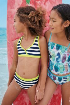 Navy/White Stripe Bikini With Fluorescent Band (3-16yrs)