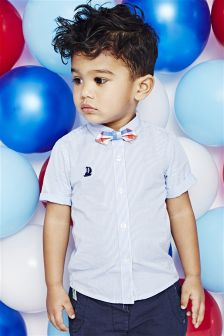 Blue Short Sleeve Shirt And Bow Tie Set (3mths-6yrs)