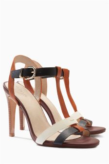 Tan/Cream Colourblock Sandals