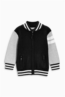Black Baseball Knitted Jacket (3mths-6yrs)