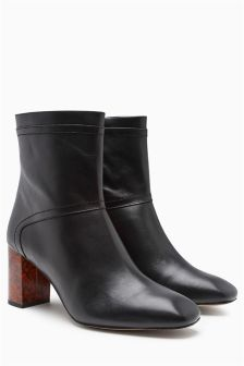 Premium Leather Feature Heel Boots
