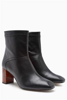 Premium Leather Feature Heel Boots