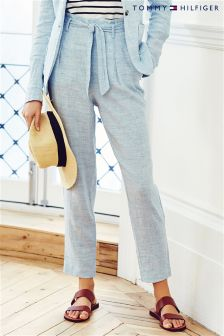 Blue Tommy Hilfiger Collection Wide Leg Linen Trouser