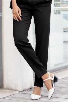 Black Textured Workwear Tapered Trousers