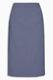 Navy Zig Zag Jacquard Pencil Skirt