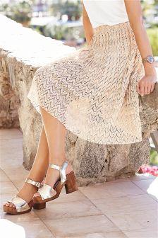 Blush Metallic Lace Skirt
