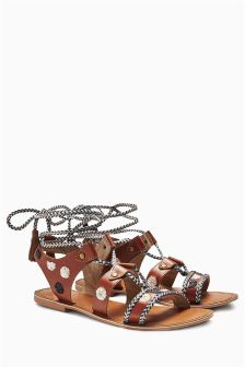 Tan Embroidered Wrap Sandals