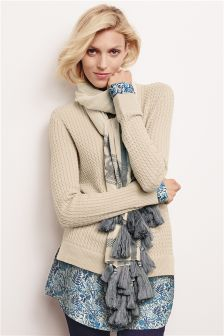 Cable Knit Shirt Layer Sweater