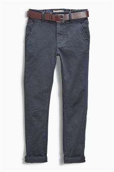 Charcoal Grey Belted Chinos (3-16yrs)