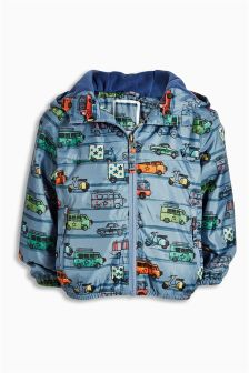Grey/Blue Vehicle Print Cagoule (3mths-6yrs)