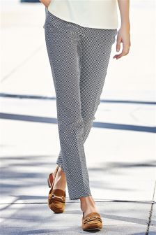 Navy Jacquard Trousers