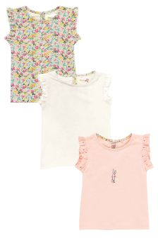 Pink Frill Sleeve Vests Three Pack (3mths-6yrs)