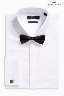 White Signature Shirt And Bow Tie Set
