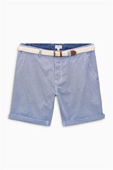 Blue Gingham Belted Shorts